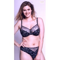 Ulla Dessous Zoe thong black with blue   36-46. also in ecru